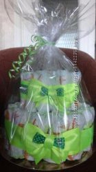 Торт из памперсов, подарок новорожденному подгузники, памперсы