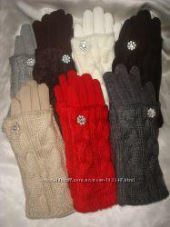 Теплые перчатки с довязом косичка. Разные цвета в наличии