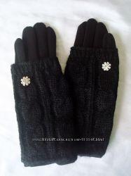 Новинка сезона. Модные  перчатки с довязом.