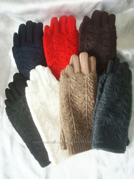 Теплые перчатки с ажурным  довязом. Цена 140 грн.