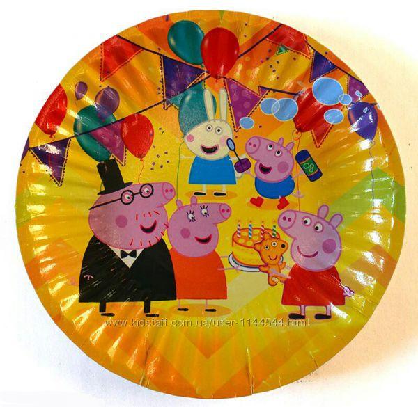 Одноразовая посуда и аксессуары с изображением свинки Пеппы