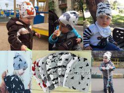 Детский комплект шапка и хомут, принт животные