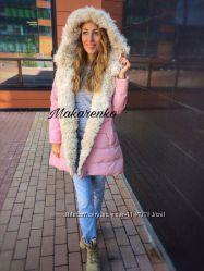 Теплая куртка очень стильная на меху под ламу с капюшоном  модель Лама