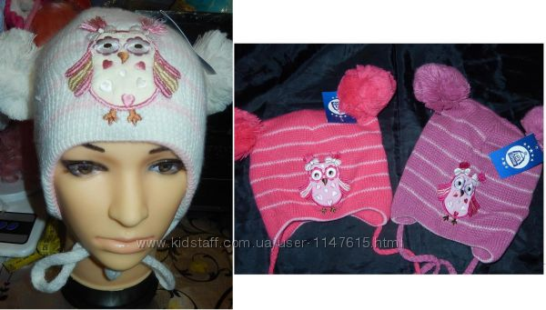 Красивые шапки на девочек 48-52, зима, Сова