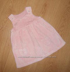 Велюровое теплое платье, сарафан, Marks&Spencer, 0-3 мес. 62 см, оригинал