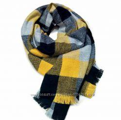 Модный тёплый шарф в клетку шерсть. Много цветов на фото
