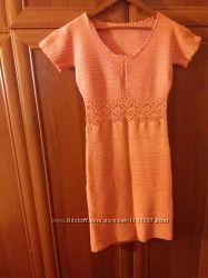 Женское летнее вязаное платье Hade made кораллового цвета 42-44
