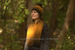 Комплект шапка и шарф черно-желтый