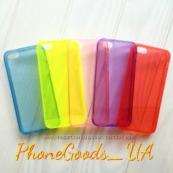 Силиконовый чехол для IPhone5, 5S прозрачный, разные цвета