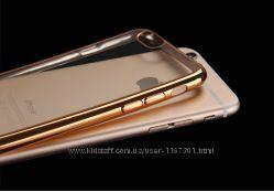 Прозрачный силиконовый чехол Apple iPhone 7 plus5. 5 с глянцевой оконтовкой