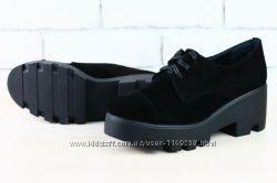 Туфли слипоны нат. замша черные 37 размер