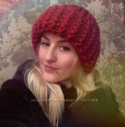 Модная шапка из толстой пряжи