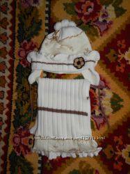 Наш весенний шапочный комплект Wojcik молочного цвета на 2-4года