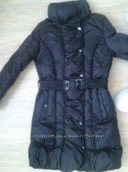 Чудесное теплое пуховое пальто zara на кнопках