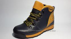 Подростковые сине- желтые зимние ботинки Timberland из натуральной кожи
