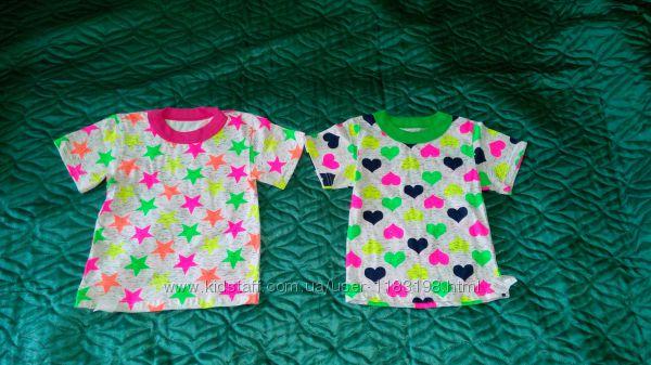 Яркая трикотажная футболка для девочек. Разм 92, 98, 104, 110, 116