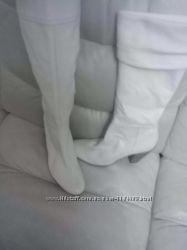 Сапоги кожаные белые