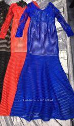 Шикарные платья в пол - неопрен сетка  гипюр - размер С 42