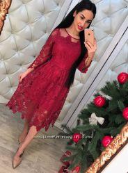 Шикарное платье кружево - марсала - размер 44-46