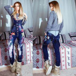 яркий джинсовый комбинезон - Турция - размер 40 бедра 95-99 см