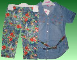 Продам джинсовую рубашку с лосинами на девочку
