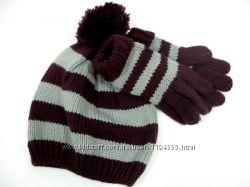 Комплект шапка перчатки для девочки  6 - 8 лет, Mothercare
