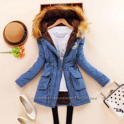 Женская зимняя куртка-парка синяя XL-2XL