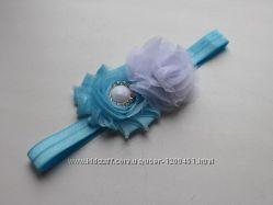 Бело-голубая повязка для волос