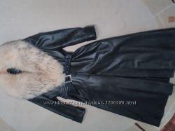 Кожанное пальто плащ