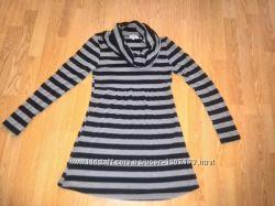 Полосатое платье-туника с хомутом