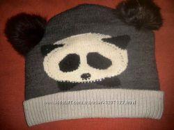 Теплая шапка с ушками панда