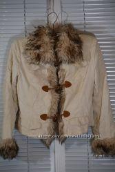 Женская осенняя весенняя куртка с мехом на воротнике и рукавах, 44-46 р