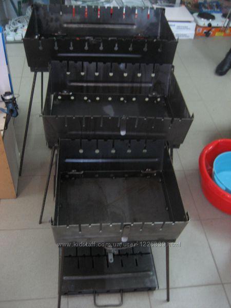 Мангал-чемодан, толщина 2-3 мм, разборной на  8 шампуров, барбикю, шамп