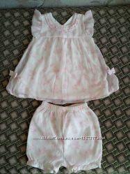Нарядное шифоновое платье с шортиками koala baby, 6-9 мес