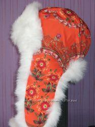Шапка зимняя, хохлома, оранжевая с белой опушкой, плащёвка, флис, Украина