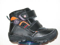 Ботиночки демисезонные, чёрные, липучка, суперцена