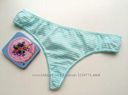 Голубые хлопковые трусики стринги, бикини. Размер L-XL