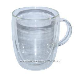 Кружка чашка стеклянная двойная  400 мл