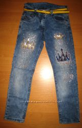Детские джинсы Короны для девочки рр. 116-128 Beebaby Бибеби