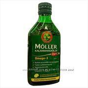 Жидкий рыбий жир MОLLER со вкусом лимона, натуральный или фруктовый