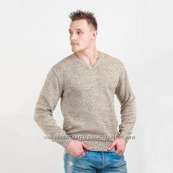 Пуловер классический с рисунком ромбом бежевый тм Diko
