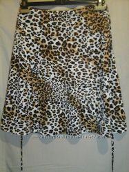 Трикотажная леопардовая юбка клеш трапеция