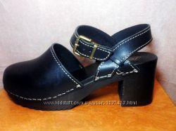 Итальянские стильные сабо босоножки средний широкий каблук