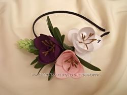 Ободок для волос с цветами ручной работы из ткани