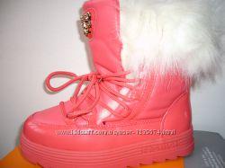 Зимние кожаные стильные ботинки-сапоги для девочек и подростков