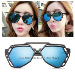 Женские оригинальные солнцезащитные очки, синий цвет линз