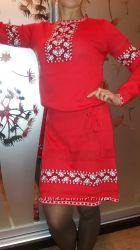 Уютное, очень красивое трикотажное платье вышиванка- количество ограничено
