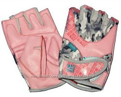перчатки для фитнеса MAD MAX розовые, белые для тренировок