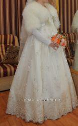 Шикарное свадебное платье, айвари, M-XL