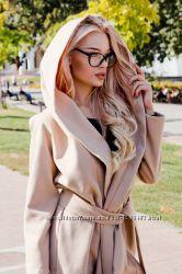 Стильные пальто кашемир с капюшоном. 4 цвета